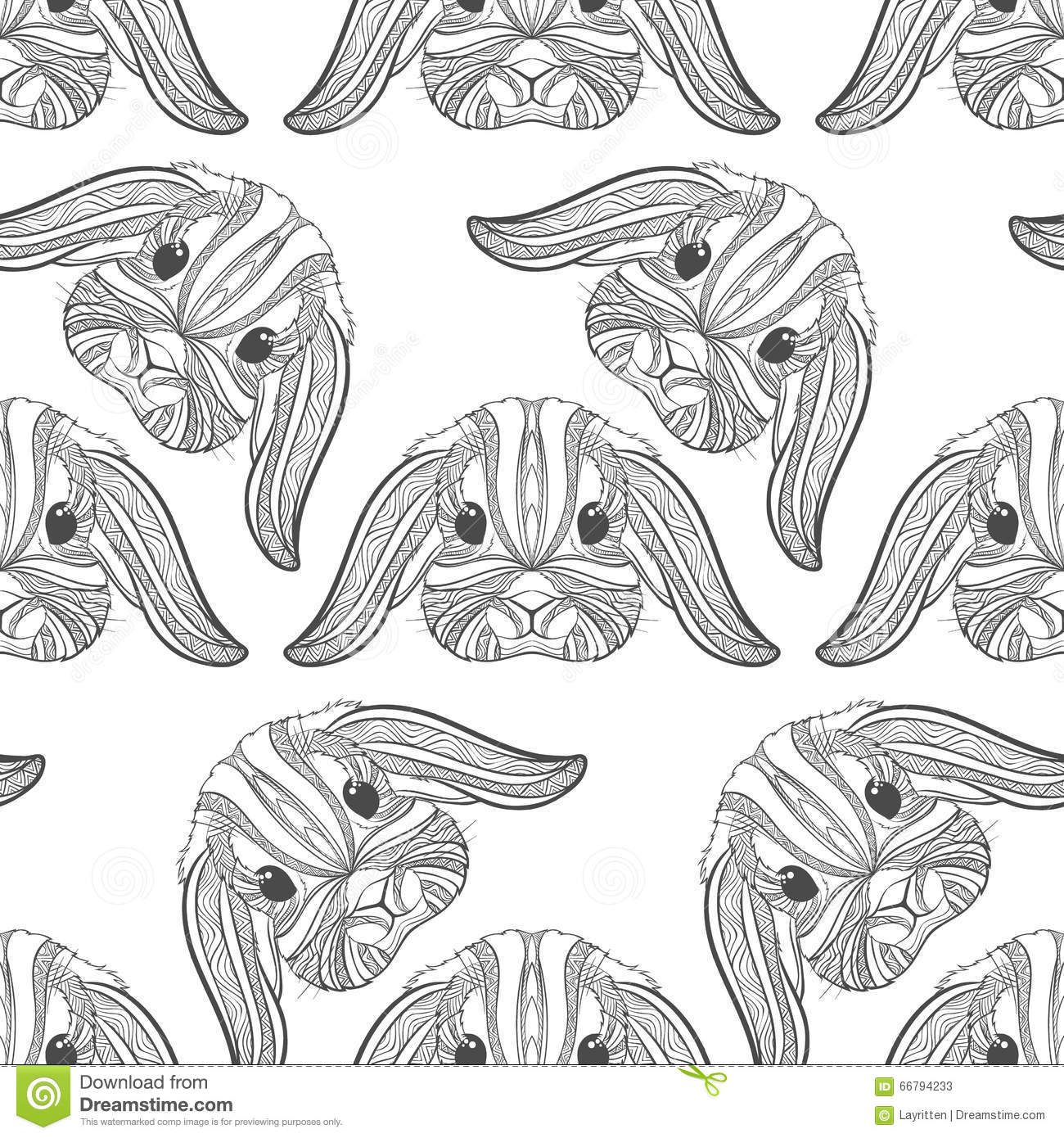 Seamless pattern rabbit coloring outlines in boho style for Decor outline