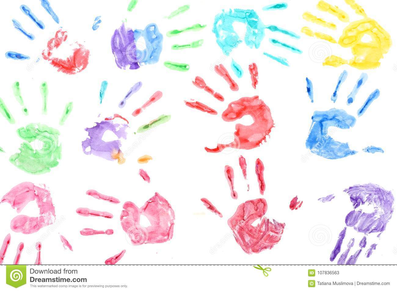 Seamless pattern with rainbow colored kids hand prints on white background
