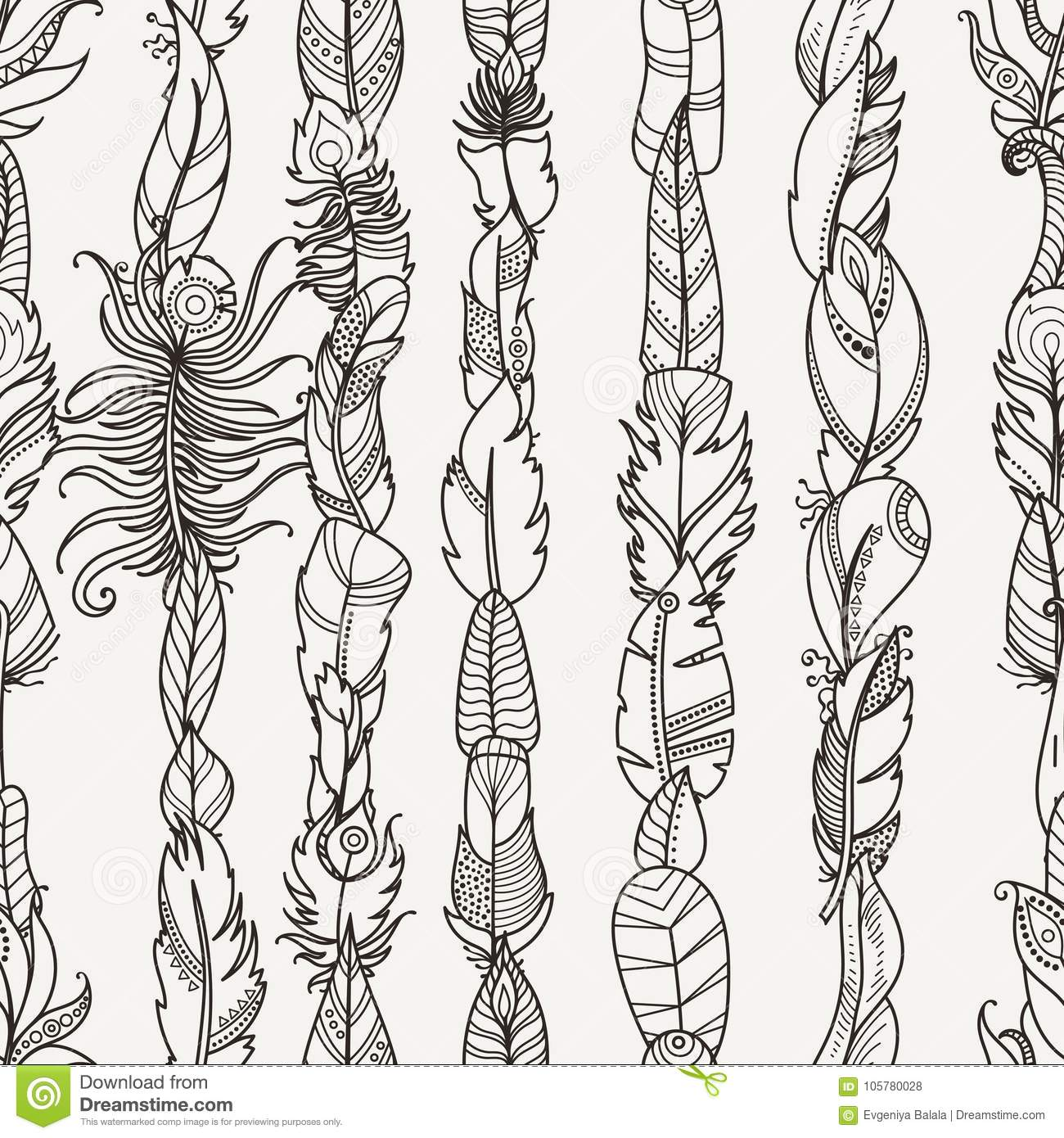 Seamless Pattern With Random Fantasy Feathers. For Wallpaper, Web ...