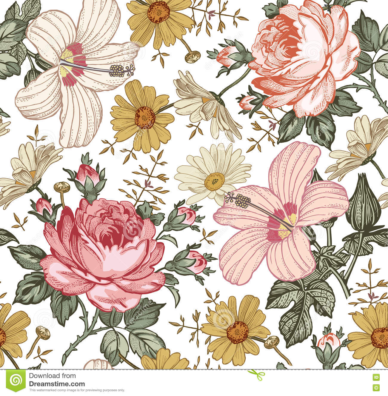 Seamless Pattern. Realistic Isolated Flowers. Vintage