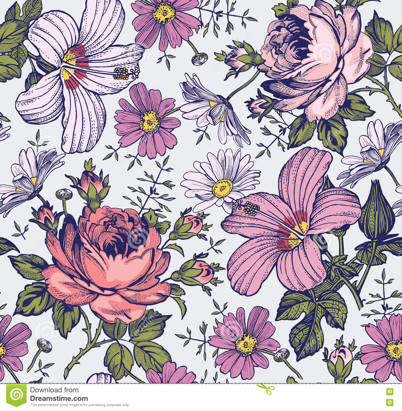 Seamless pattern. Beautiful pink blooming realistic isolated flowers. Vintage background. Chamomile Rose hibiscus mallow wildflowers. Wallpaper.