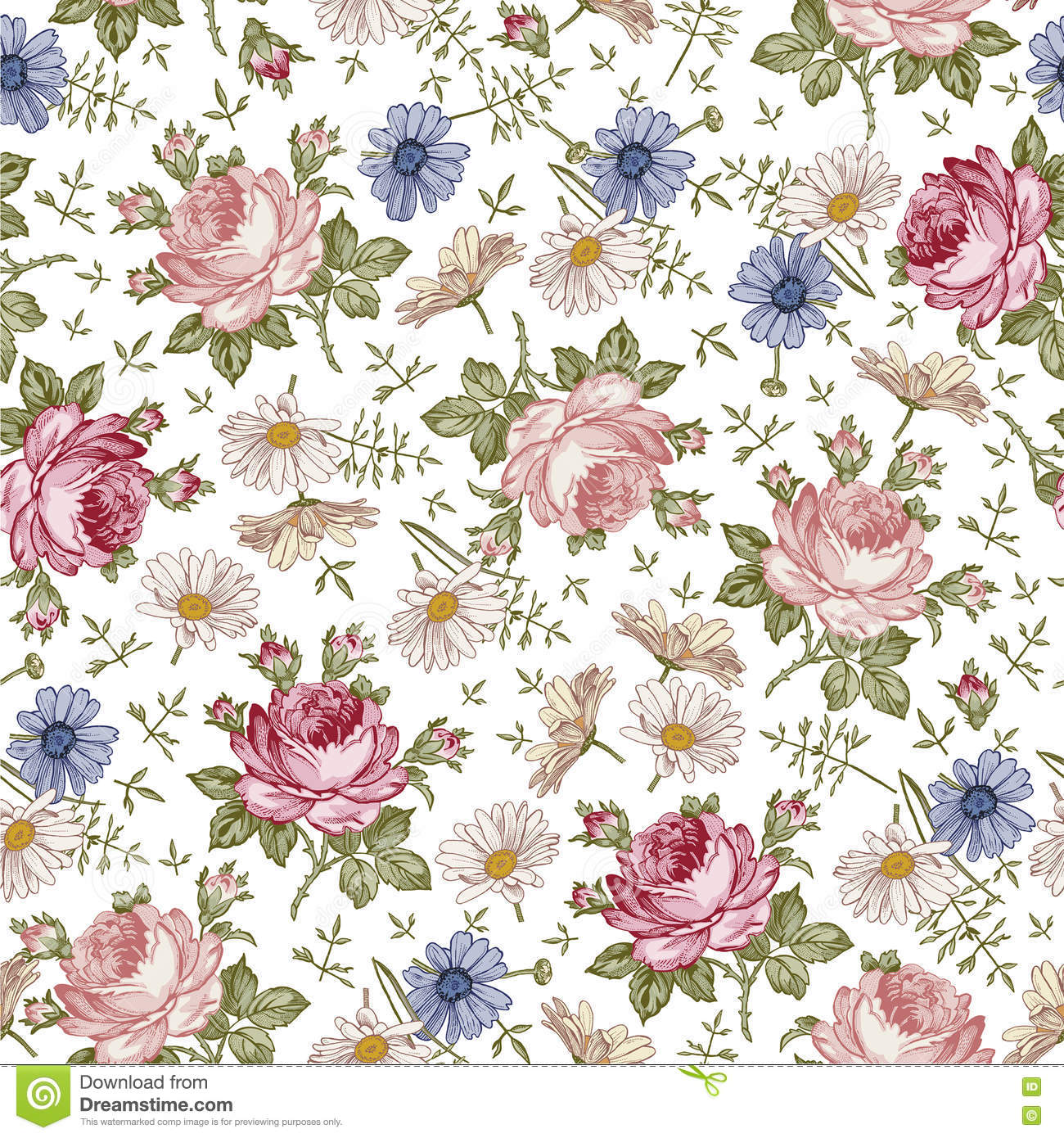 Seamless pattern realistic isolated flowers vintage for Tapete schwarz muster