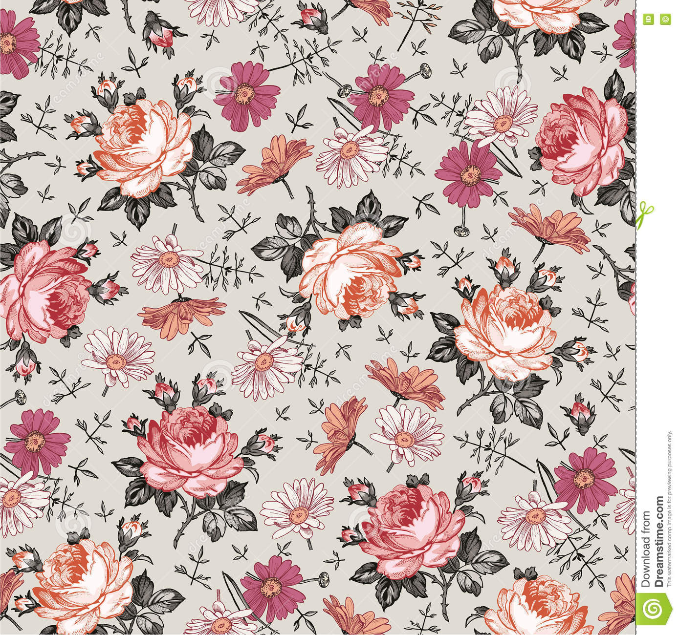 Royalty Free Vector Download Seamless Pattern Realistic Isolated Flowers Vintage Baroque Background