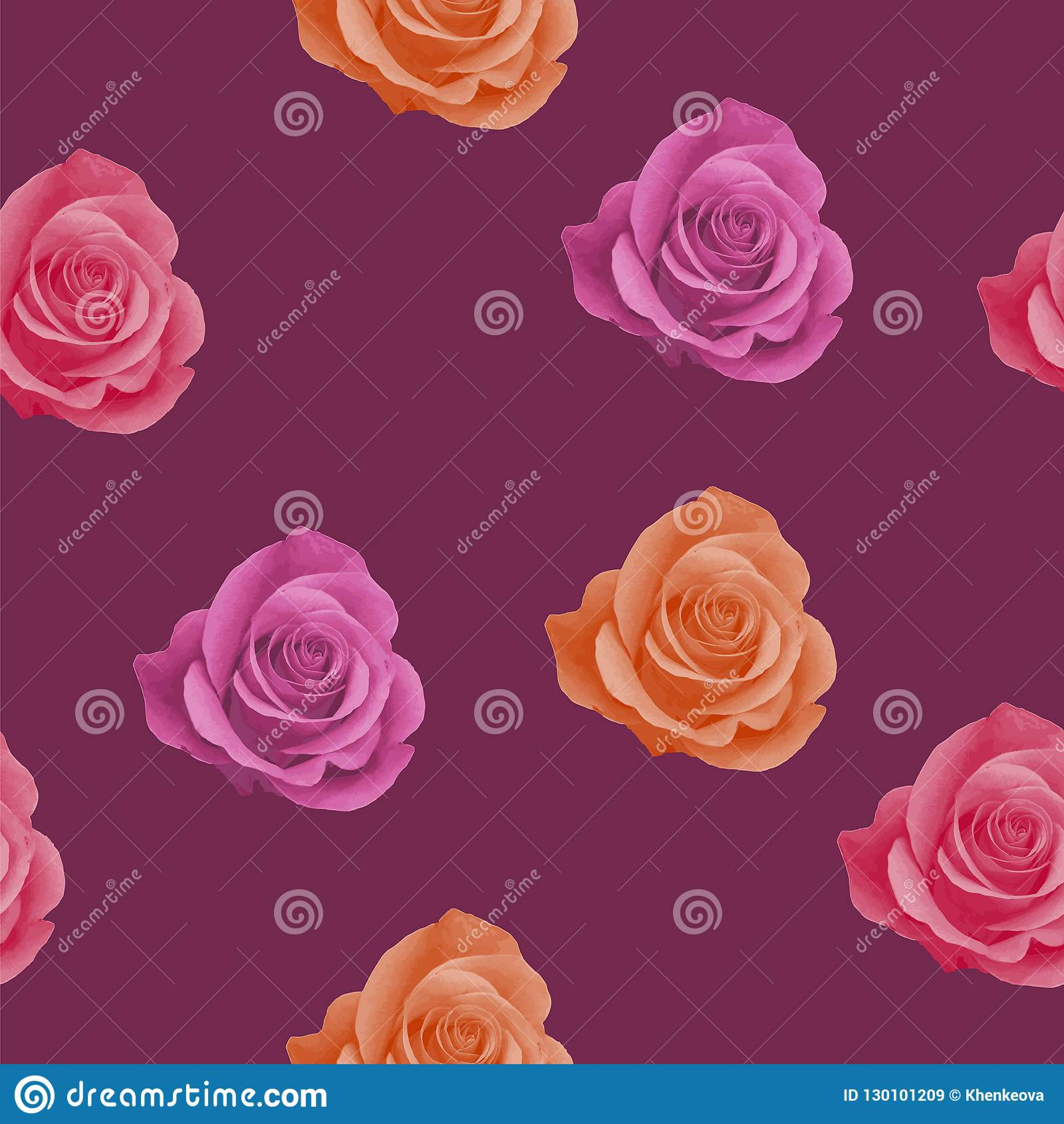 Seamless Pattern With Realistic Pink Orange And Red Roses On Red