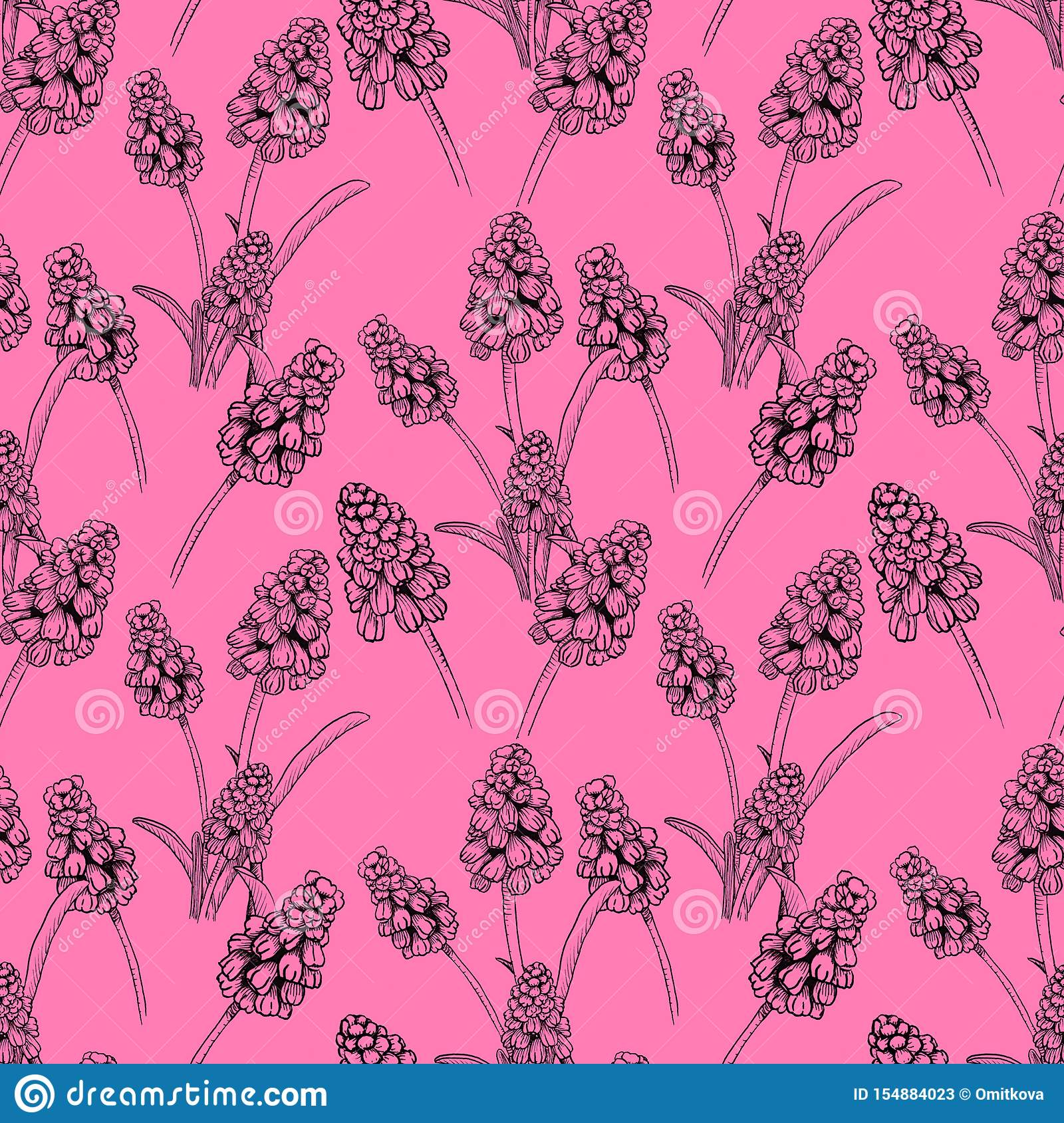 Seamless pattern with realistically painted ink Muscari flowers. Hand drawn illustration on pink background modified to