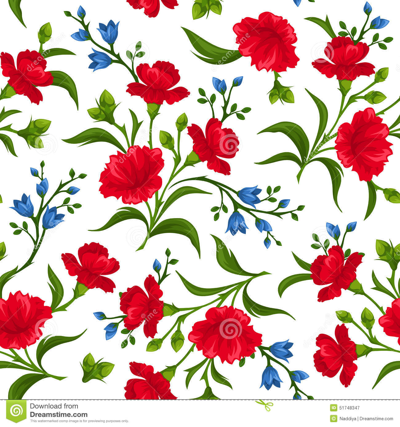 Seamless background with red white and blue flowers vector seamless pattern with red and blue flowers vector illustration royalty free stock photography izmirmasajfo