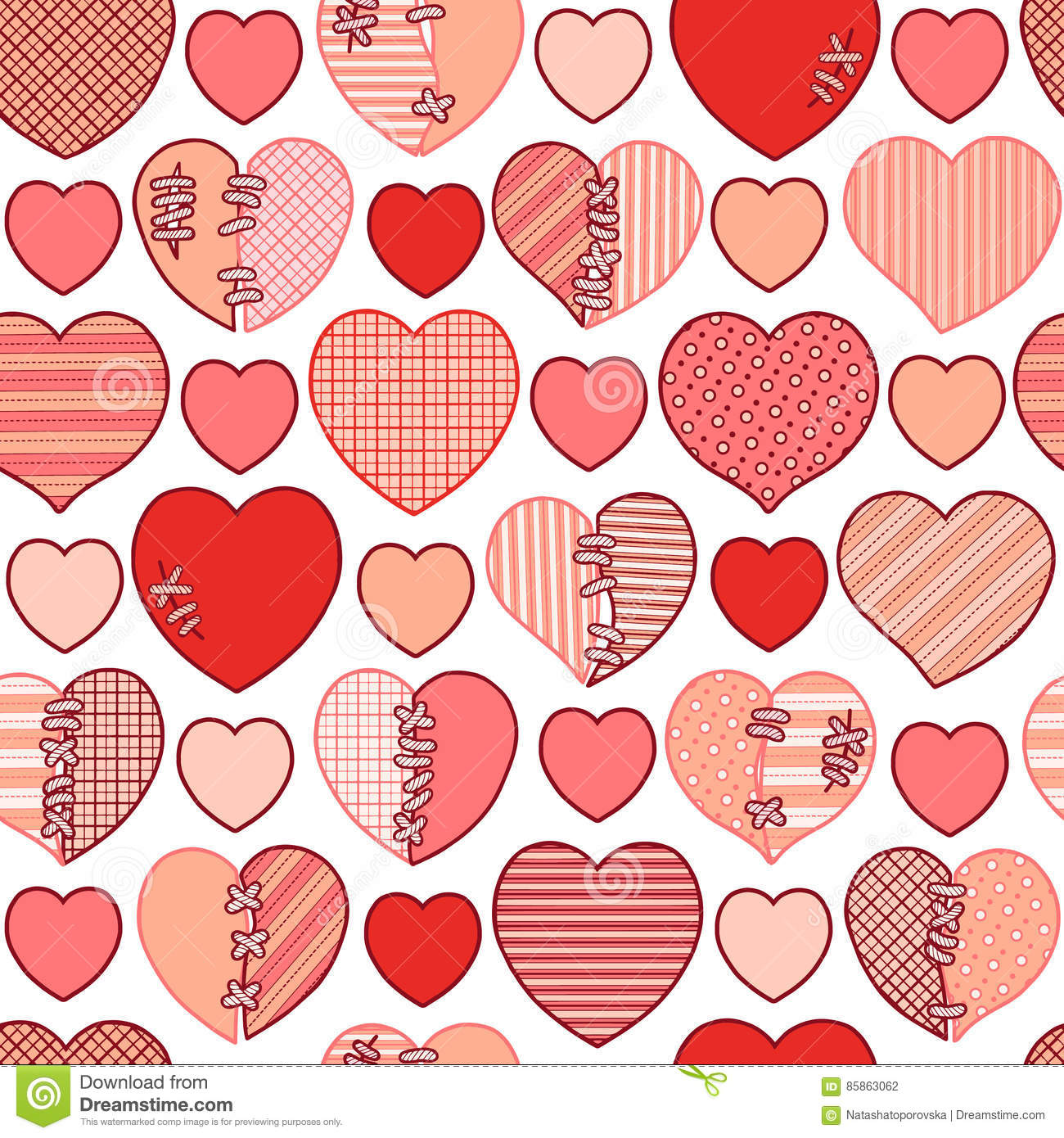 Seamless Pattern Of Red Broken Hearts For Gift Wrapping ...