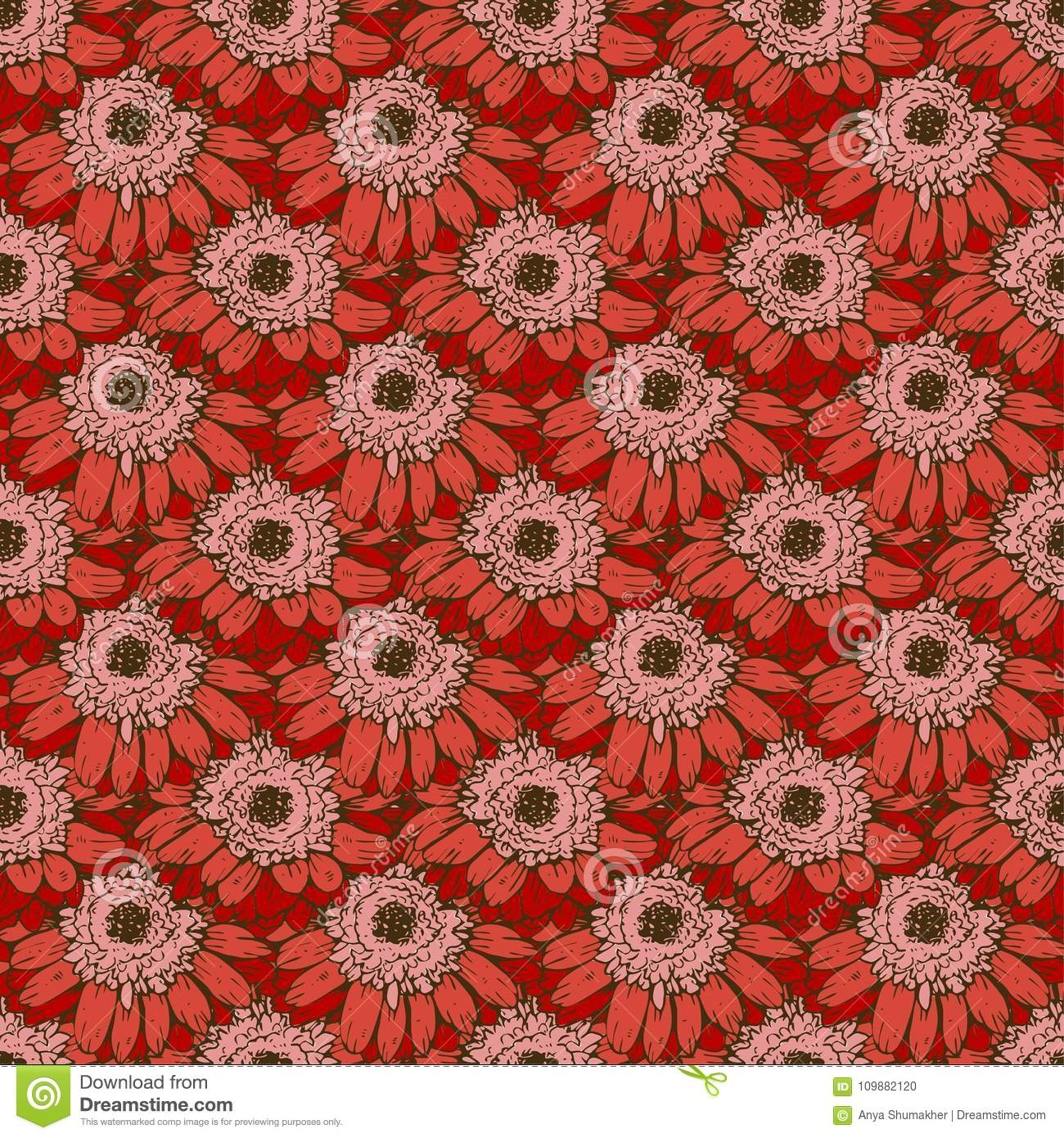 Seamless Pattern With Red Daisies Flower. Vector Set Of Blooming ...
