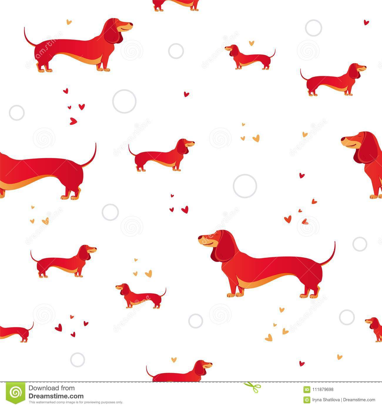 Seamless Pattern With Red Dog And Heart Stock Vector - Illustration ...