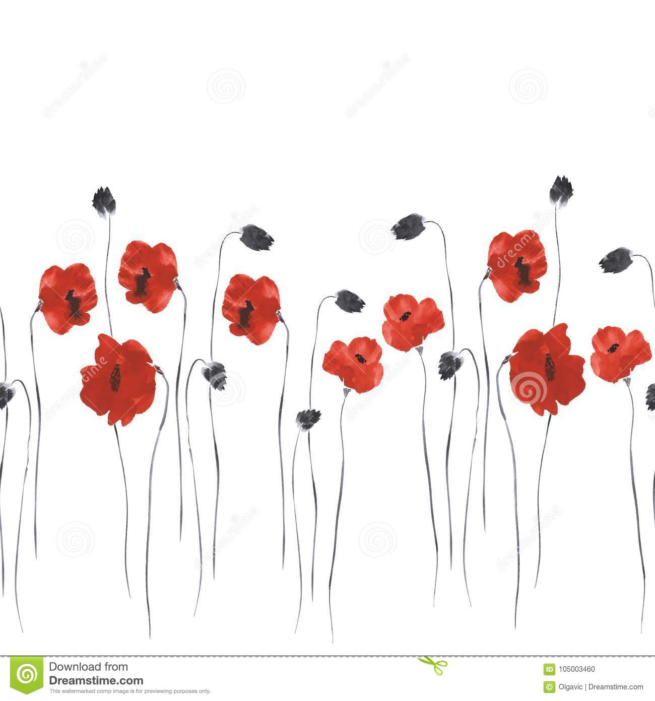Seamless pattern of red flowers of poppies on a white background seamless pattern of red flowers of poppies on a white background watercolor 2 mightylinksfo