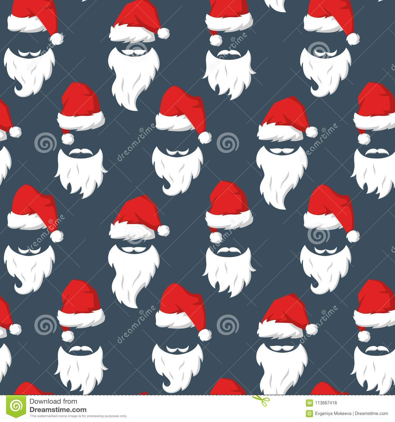 297ee6e3ec855 Royalty-Free Vector. Seamless pattern with Red hats and beard of Santa Claus .