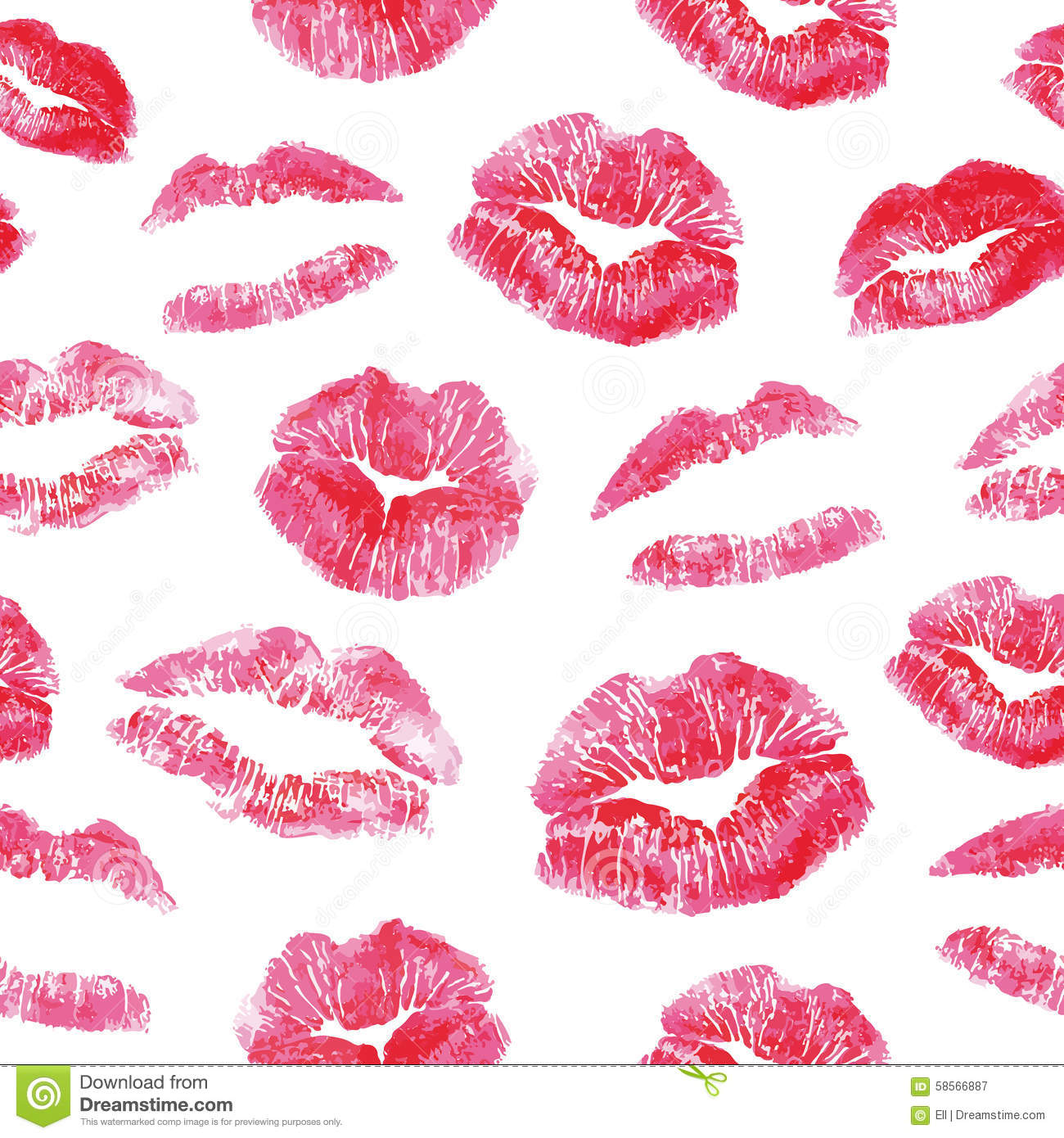 seamless pattern red lips kisses prints stock vector