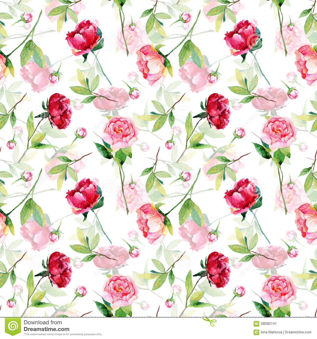 Seamless pattern with red pink peonies leaves stock illustration watercolor flowers vintage can be used for gift wrapping paper and other backgrounds mightylinksfo