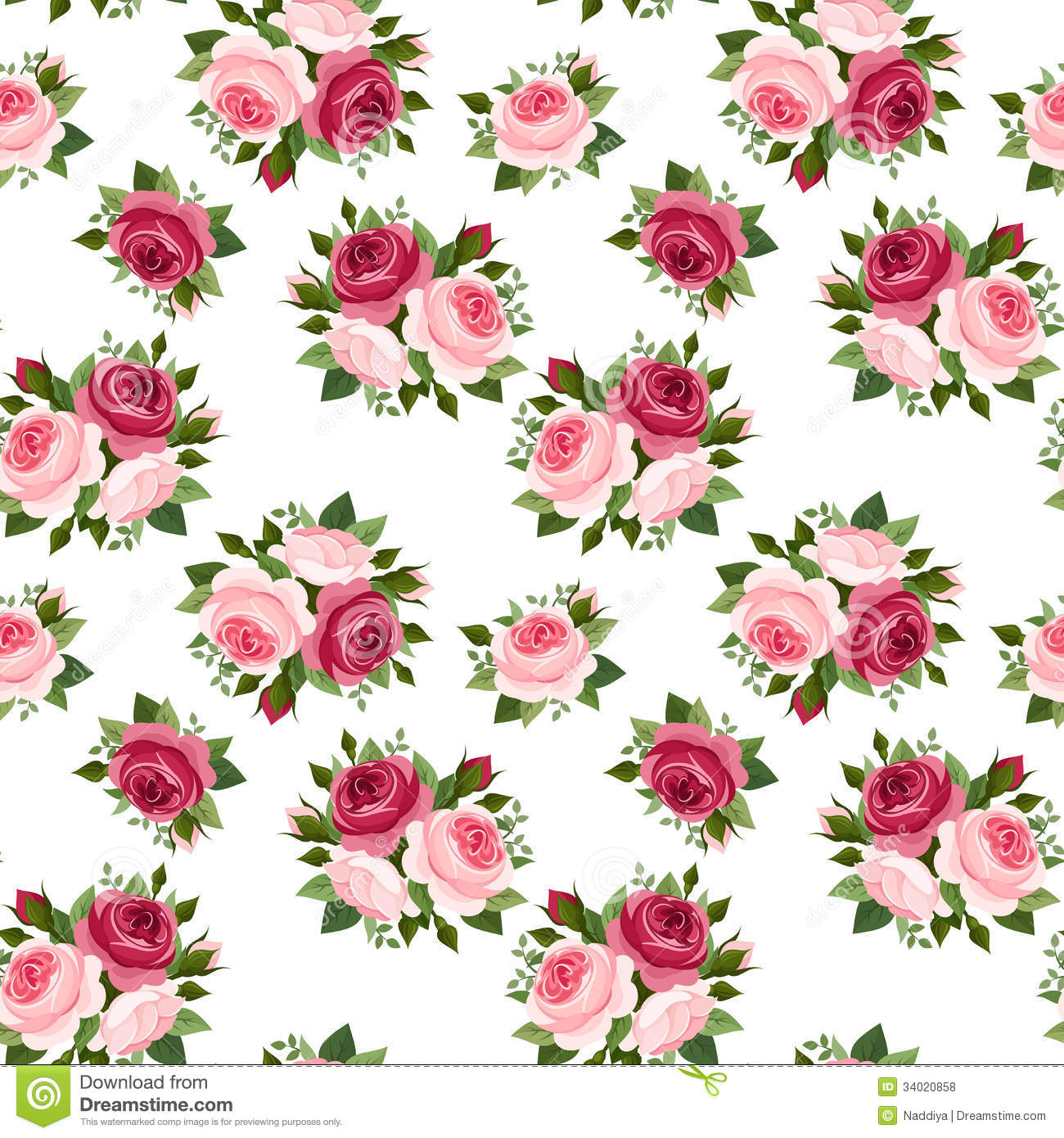 Seamless Pattern With Red And Pink Roses. Royalty Free