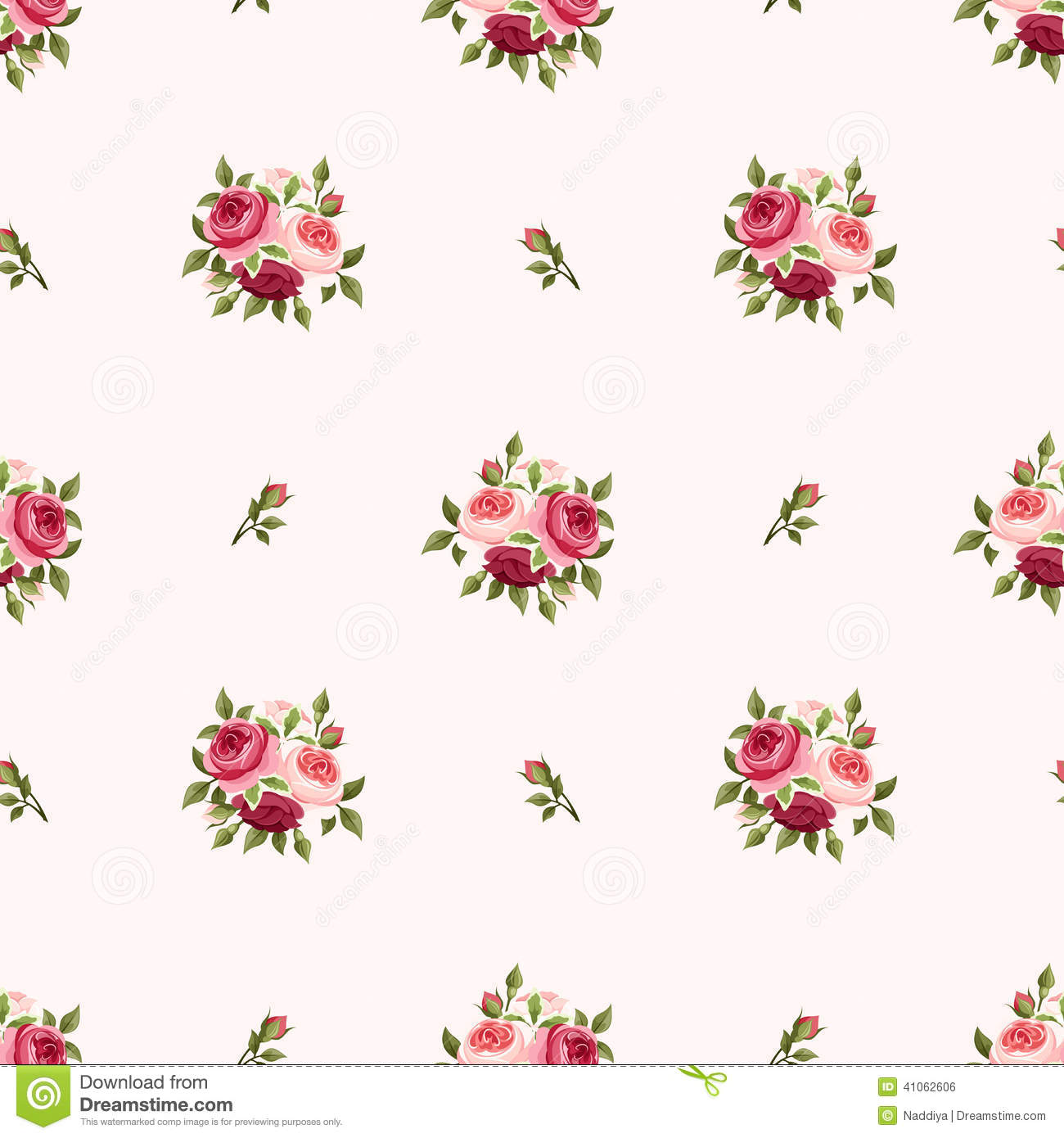 Seamless Pattern With Red And Pink Roses. Vector