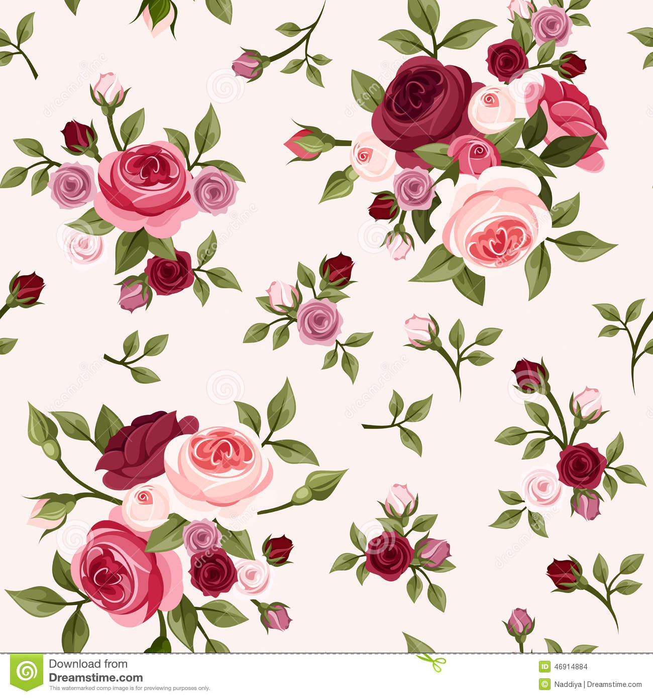 Seamless Pattern With Red And Pink Roses. Vector ...