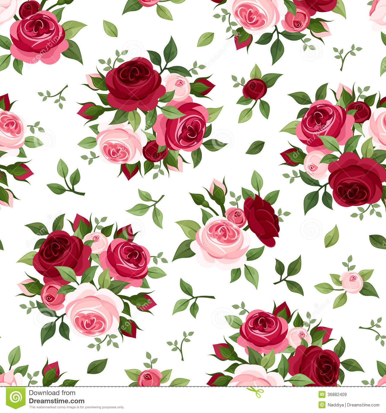 Seamless Pattern With Red And Pink Roses