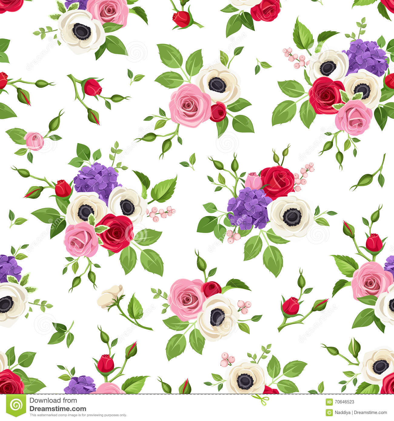 Seamless Pattern With Red Pink White And Purple Flowers Vector