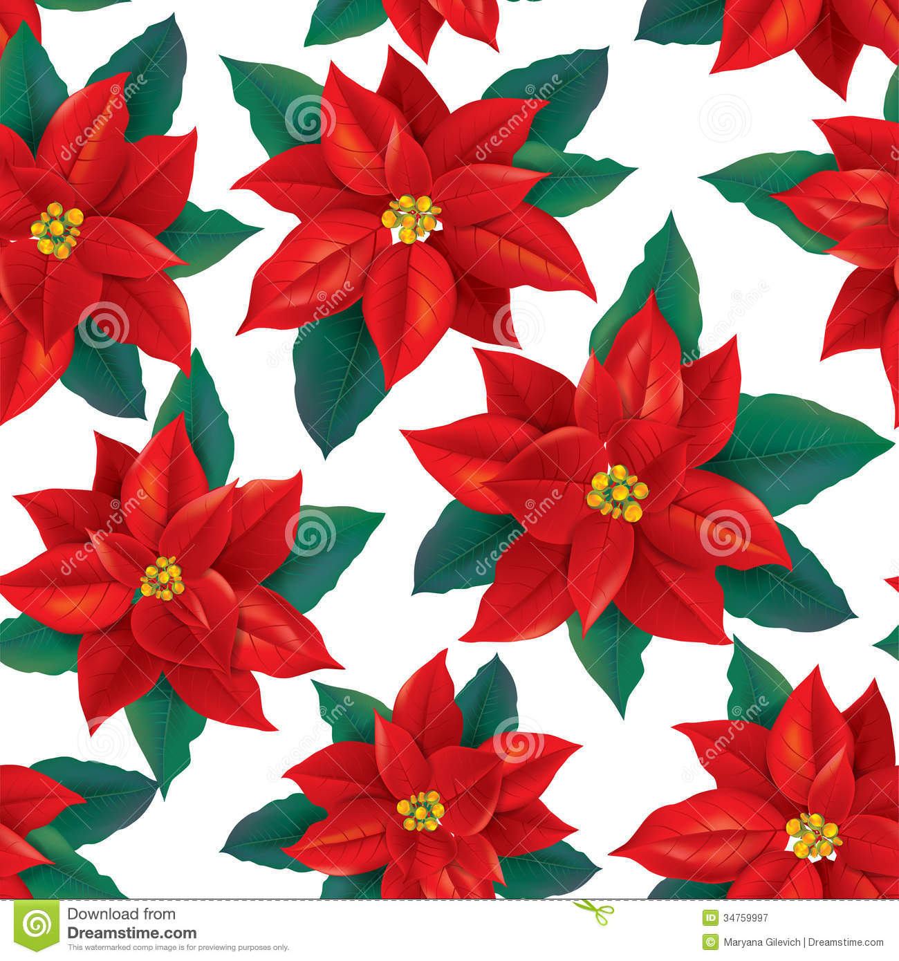 Seamless Pattern Of Red Poinsettia Royalty Free Stock Photography ...