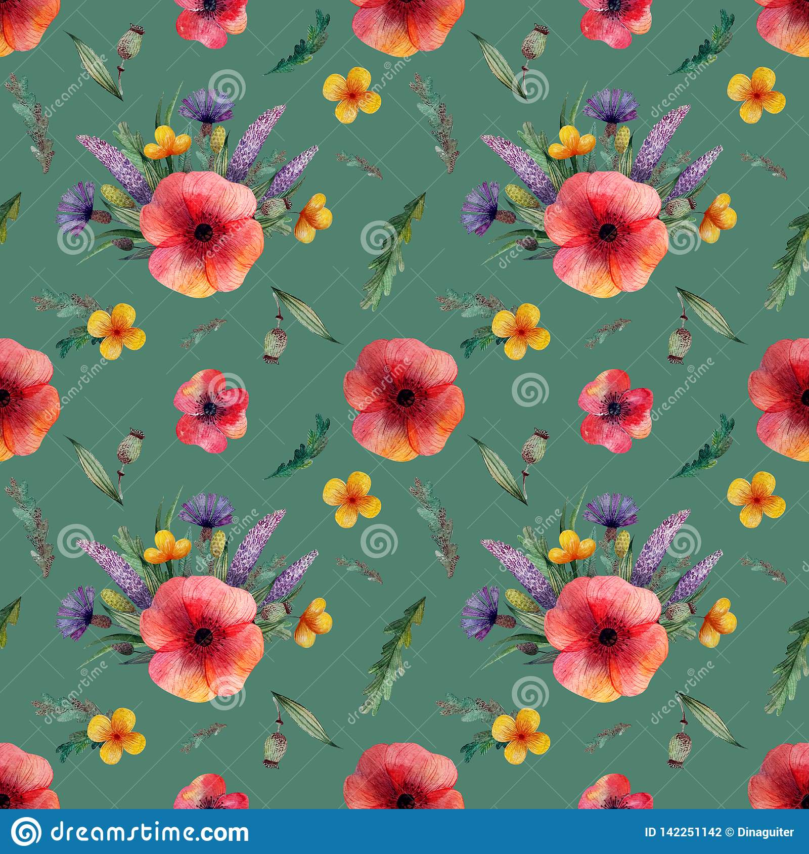 Seamless pattern with red poppy and lilac cornflowers flowers yellow flowers and herbs on a green background