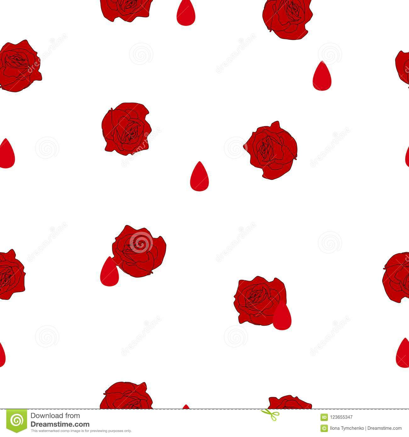 Seamless pattern red rose flower blood drop on white vector stock abstract seamless pattern small red roses flowers and blood drops on white background halloween illustration ornament concept life and death pretty modern mightylinksfo