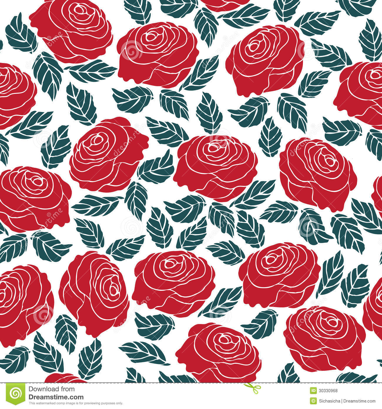 Seamless Pattern Of Red Rose Flower Stock Vector - Illustration of ...