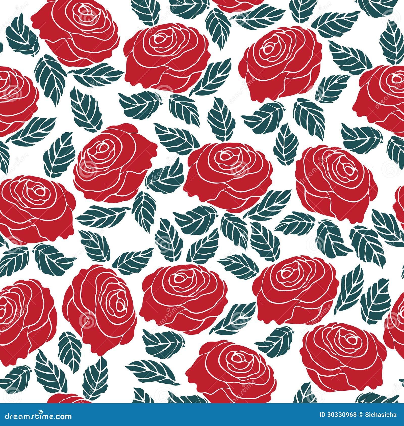 Seamless Pattern Of Red Rose Flower Stock Vector Illustration Of