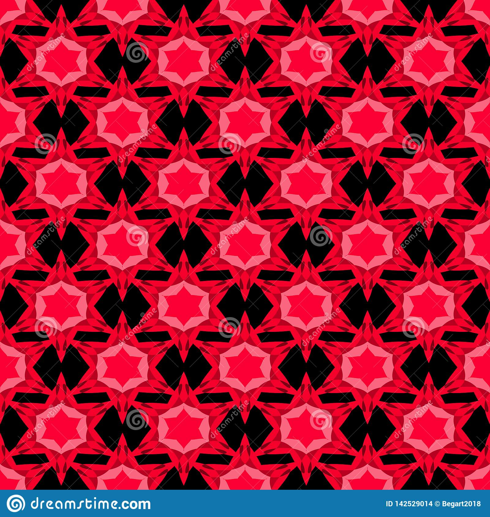 Seamless pattern with red stars