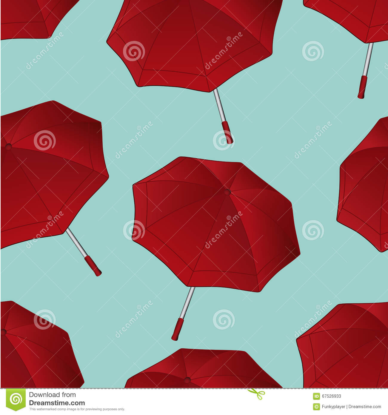 Seamless Pattern With Red Umbrella On Blue Background