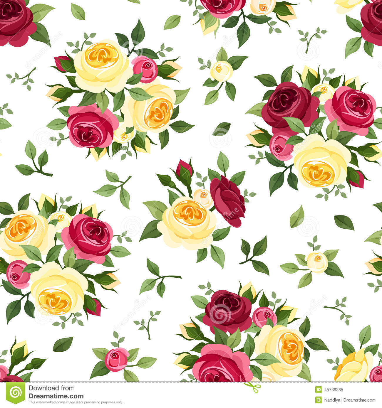 Seamless Pattern With Red And Yellow Roses On White
