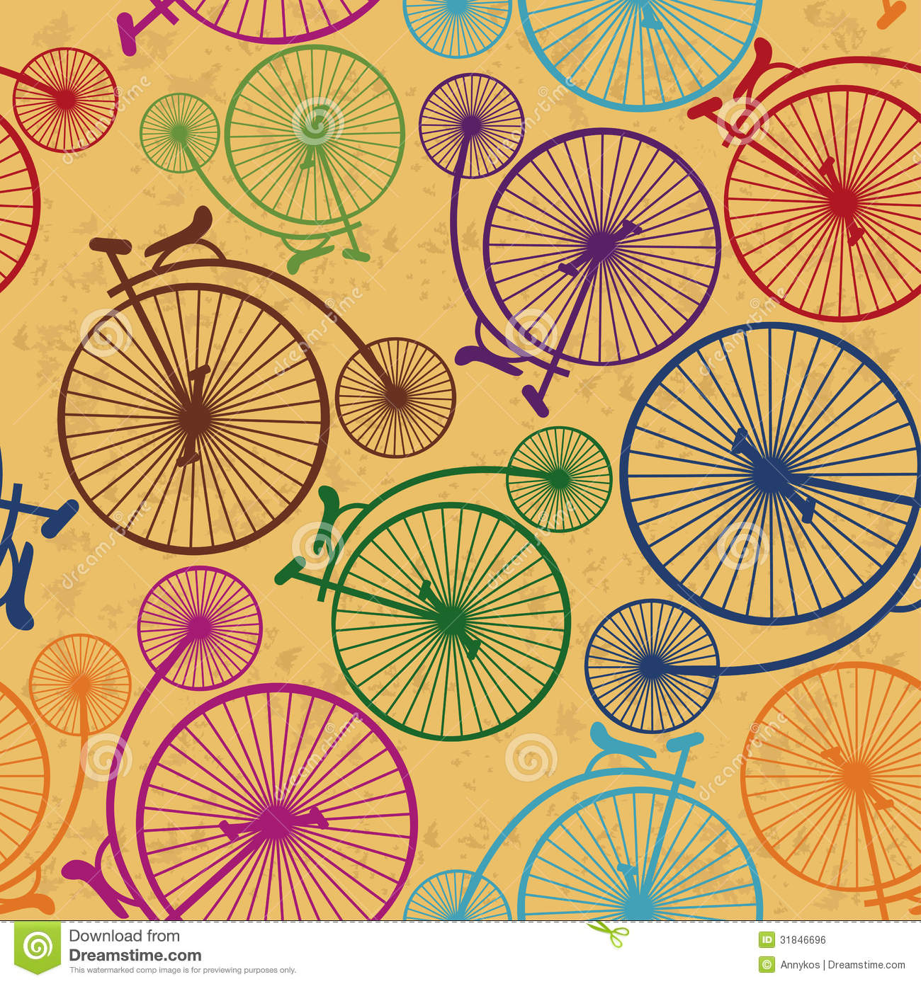 Seamless Pattern Of Retro Bicycles Royalty Free Stock ...