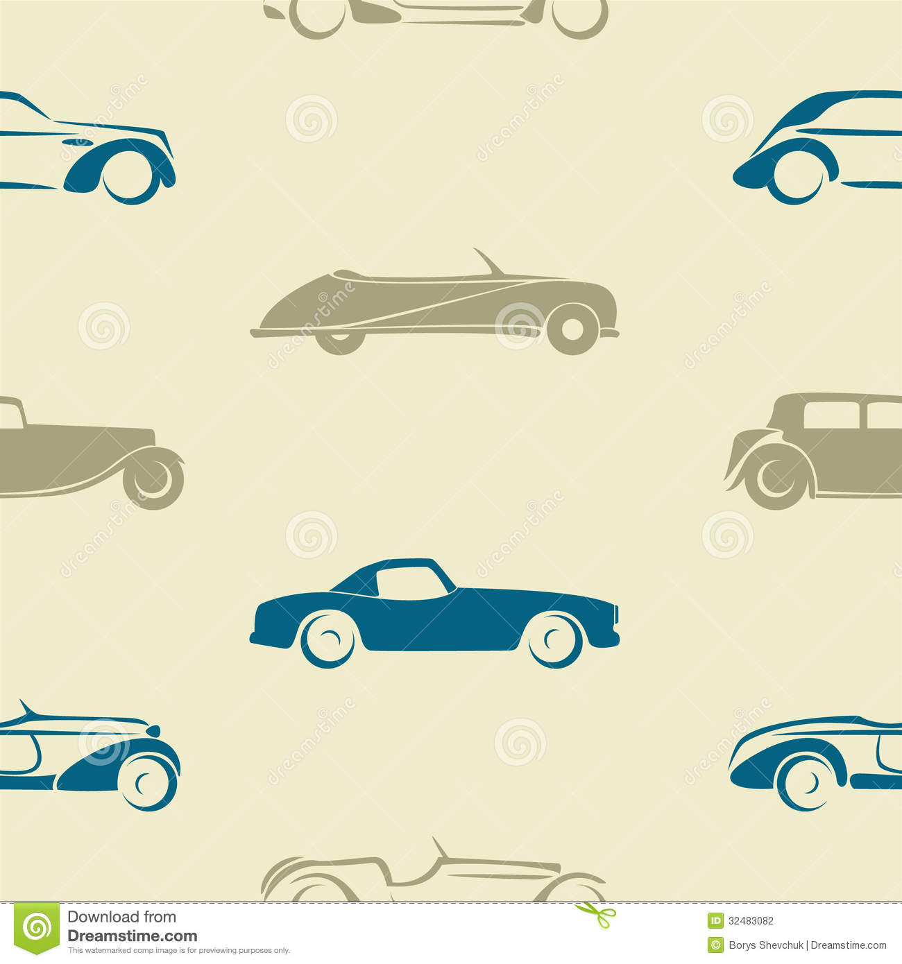 Seamless Pattern With Retro Cars Stock Vector Image