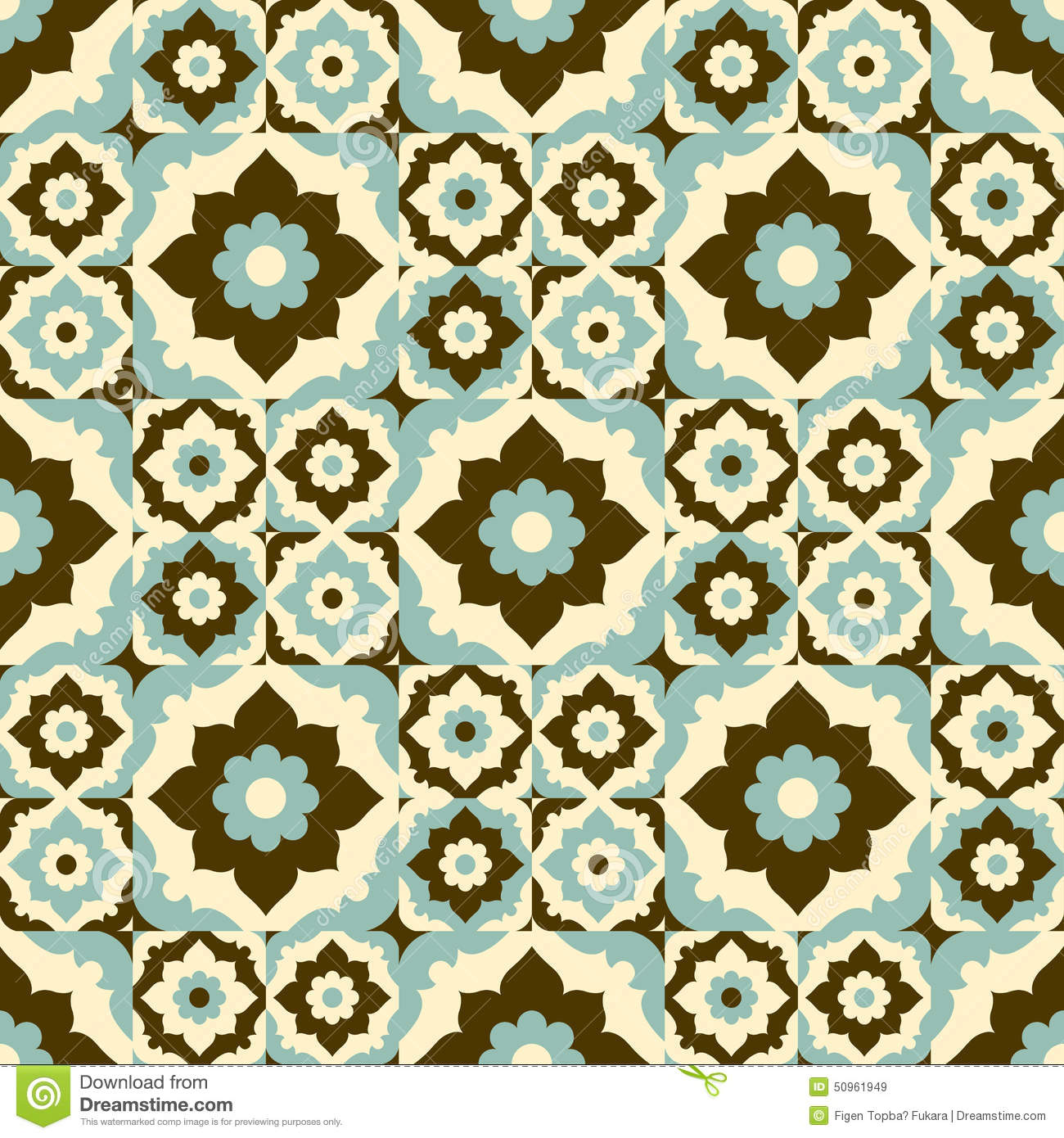 Seamless Pattern Retro Ceramic Tile Design With Floral Ornate Stock Vector