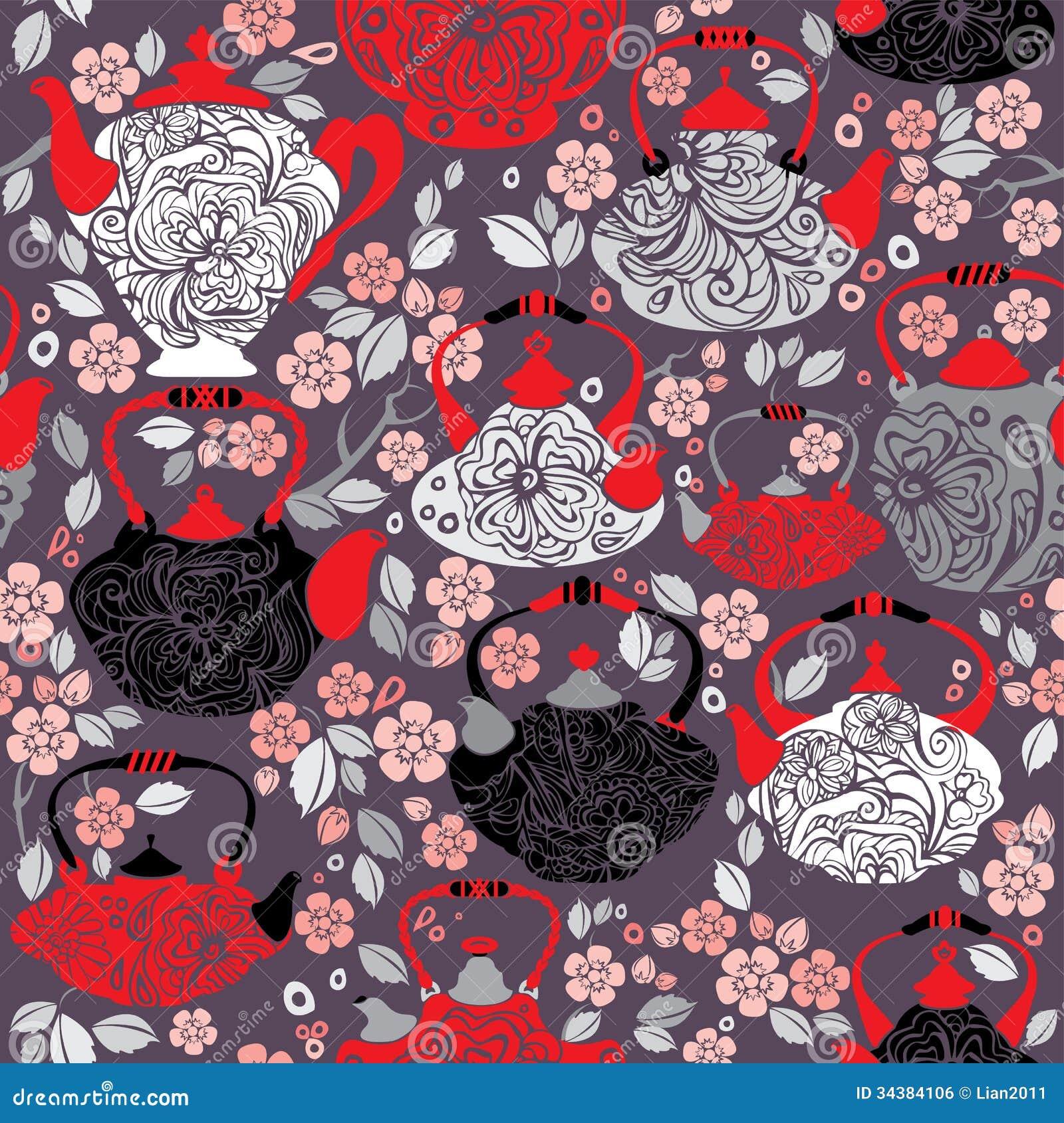 Seamless Pattern With Retro Design China Tea Pots Royalty
