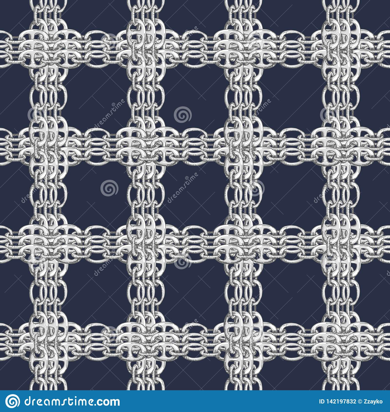 Seamless Pattern With Retro Hand-drawn Sketch Silver Chain