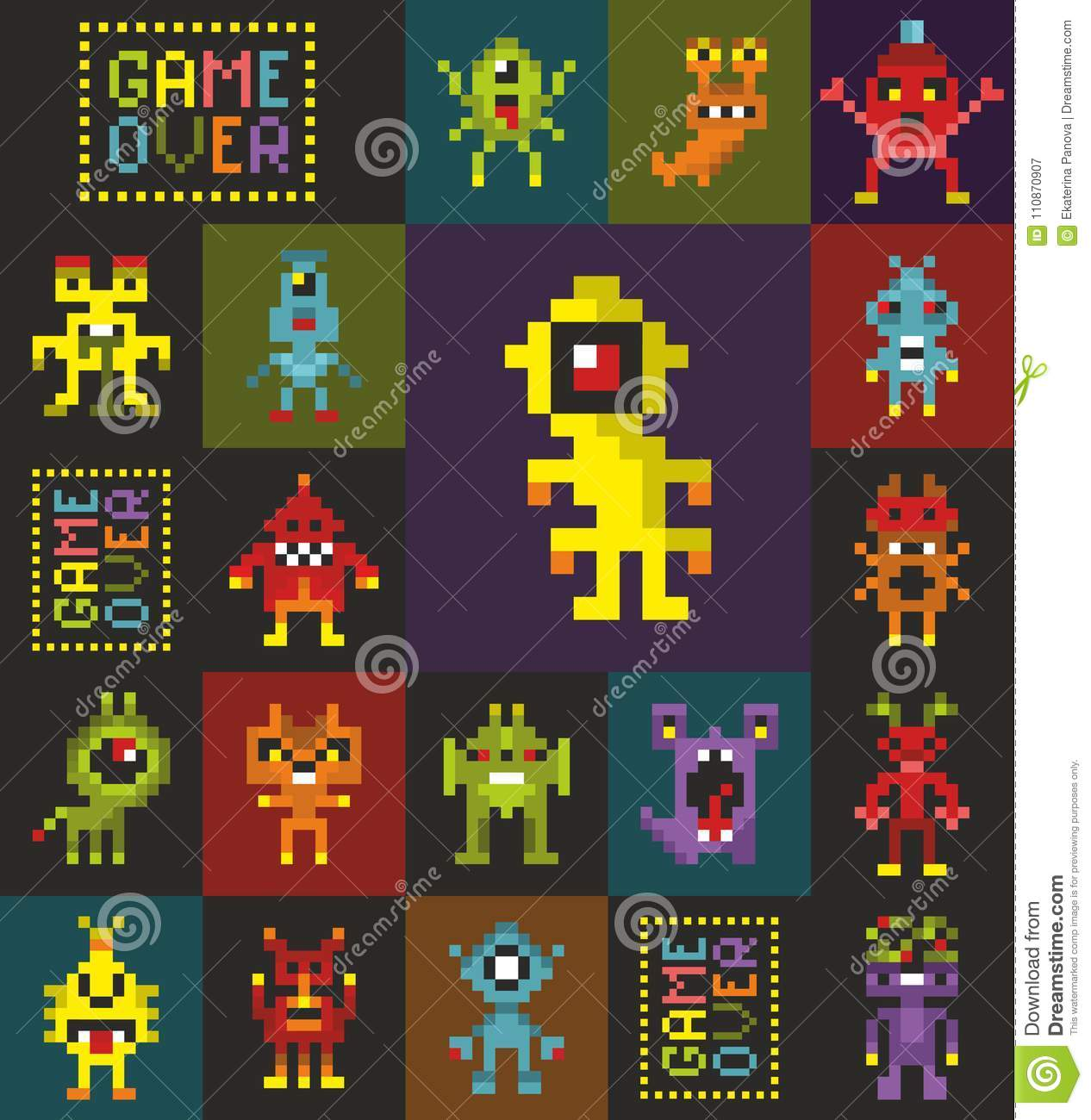 Seamless pattern with retro monsters from the computer game.