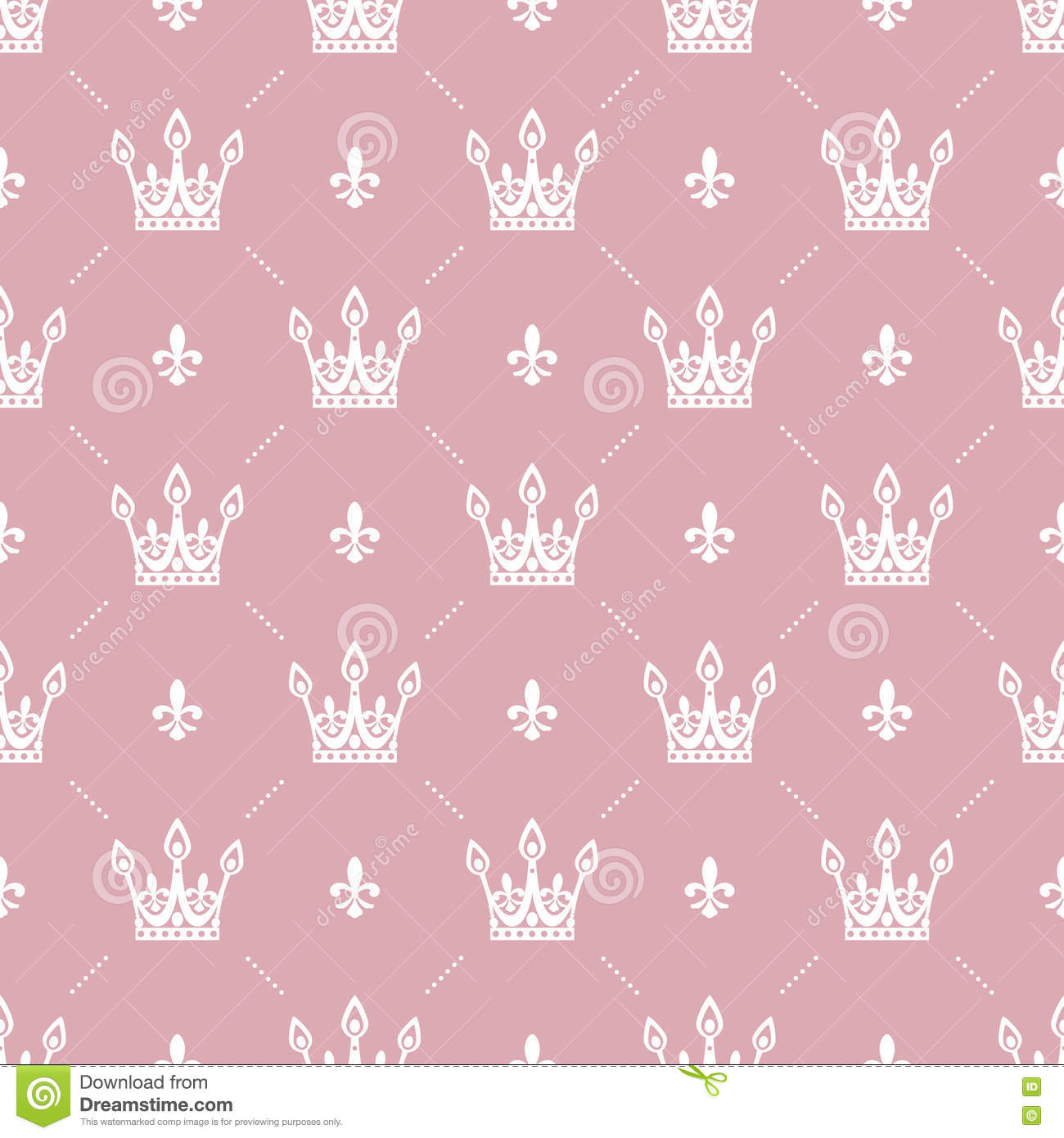 Seamless Pattern In Retro Style With A White Crown On Pink Background Can Be