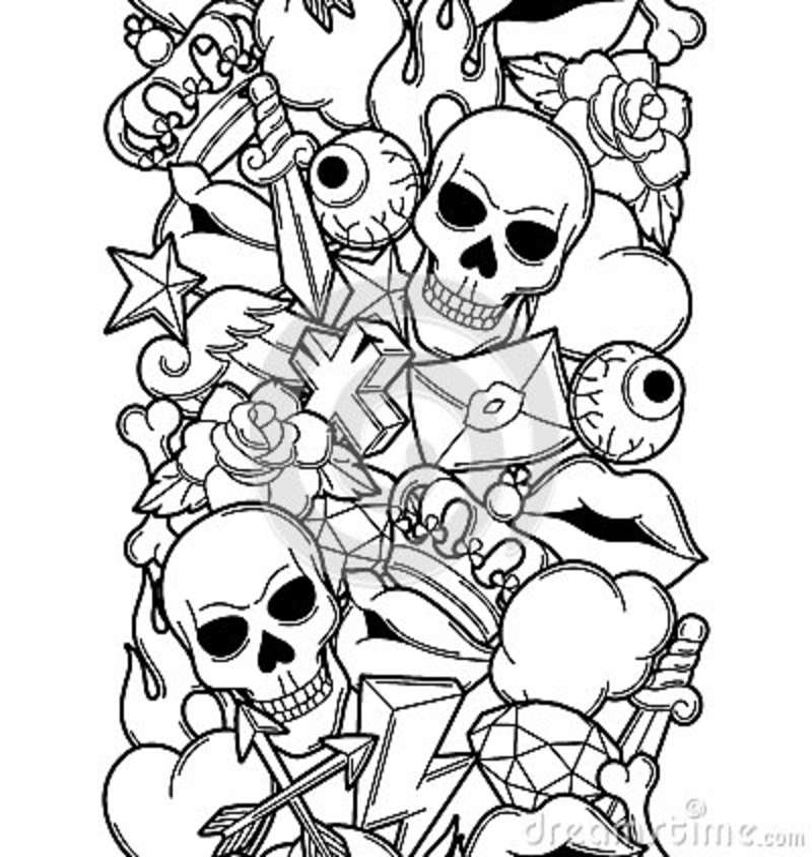Seamless Pattern With Retro Tattoo Symbols Cartoon Old School