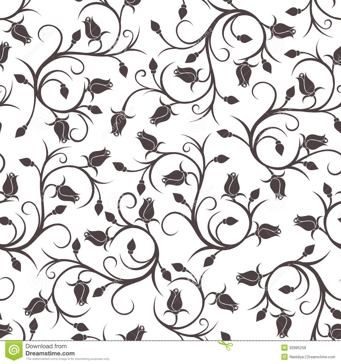 Black Flower Silhouette Pattern Royalty Free Stock Images: Seamless Pattern With Rose Buds. Stock Vector