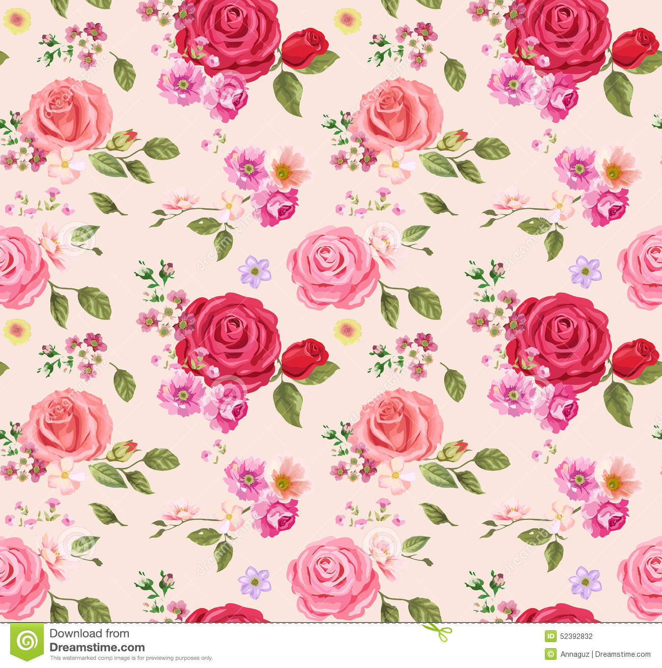 Seamless Pattern With Roses Floral Background Design Composition