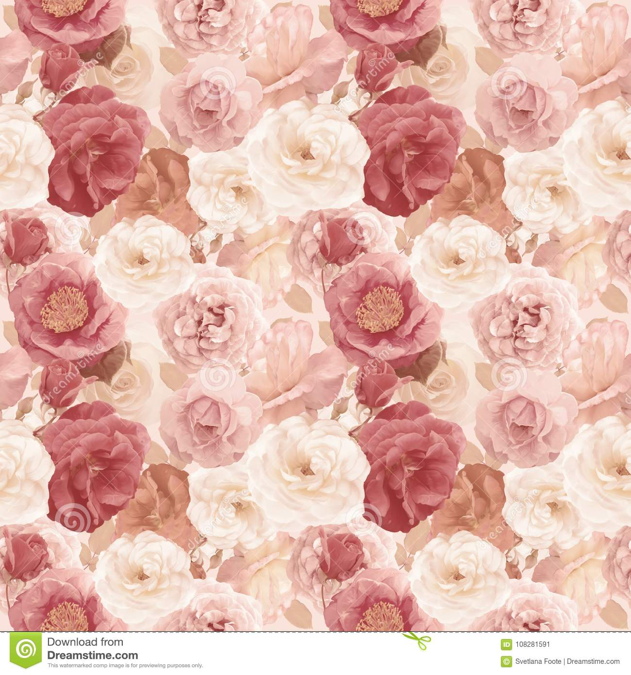 Seamless pattern with roses and leaves