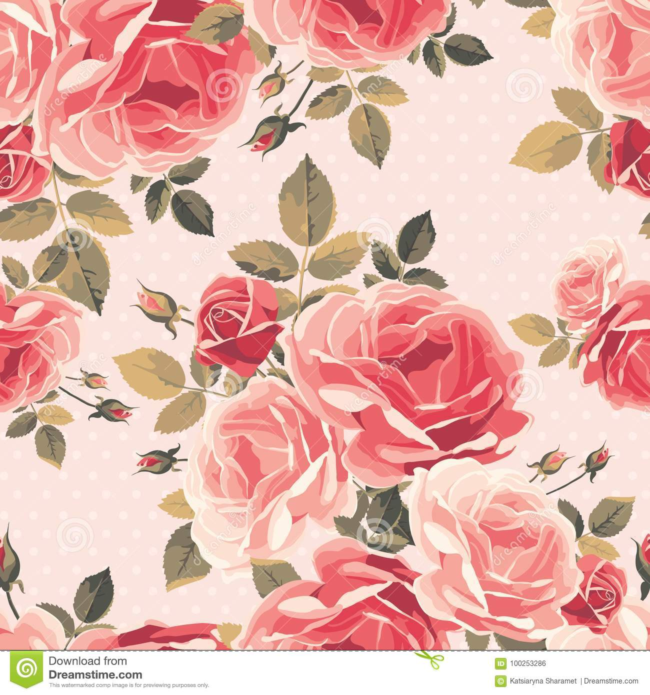 Seamless Pattern With Roses Vintage Floral Background Stock