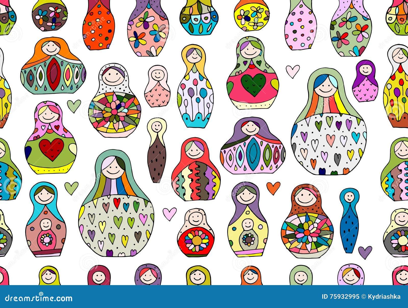 Seamless Pattern With Russian Nesting Dolls Matryoshka