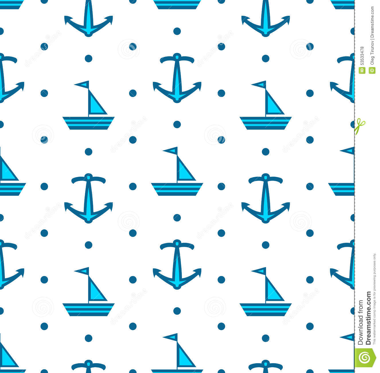 seamless pattern with sail boats and anchors nautical