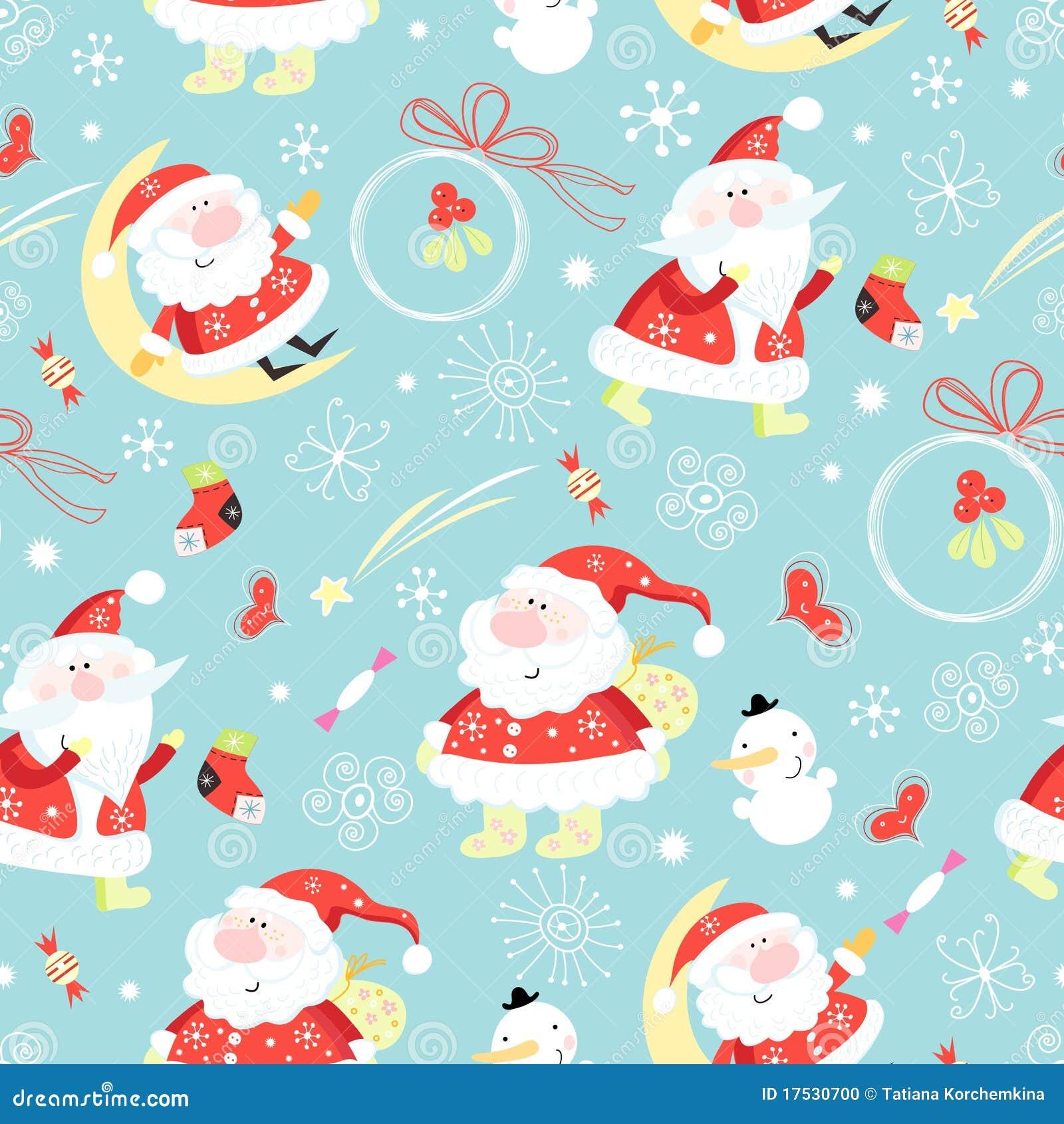 seamless pattern santa claus stock vector illustration