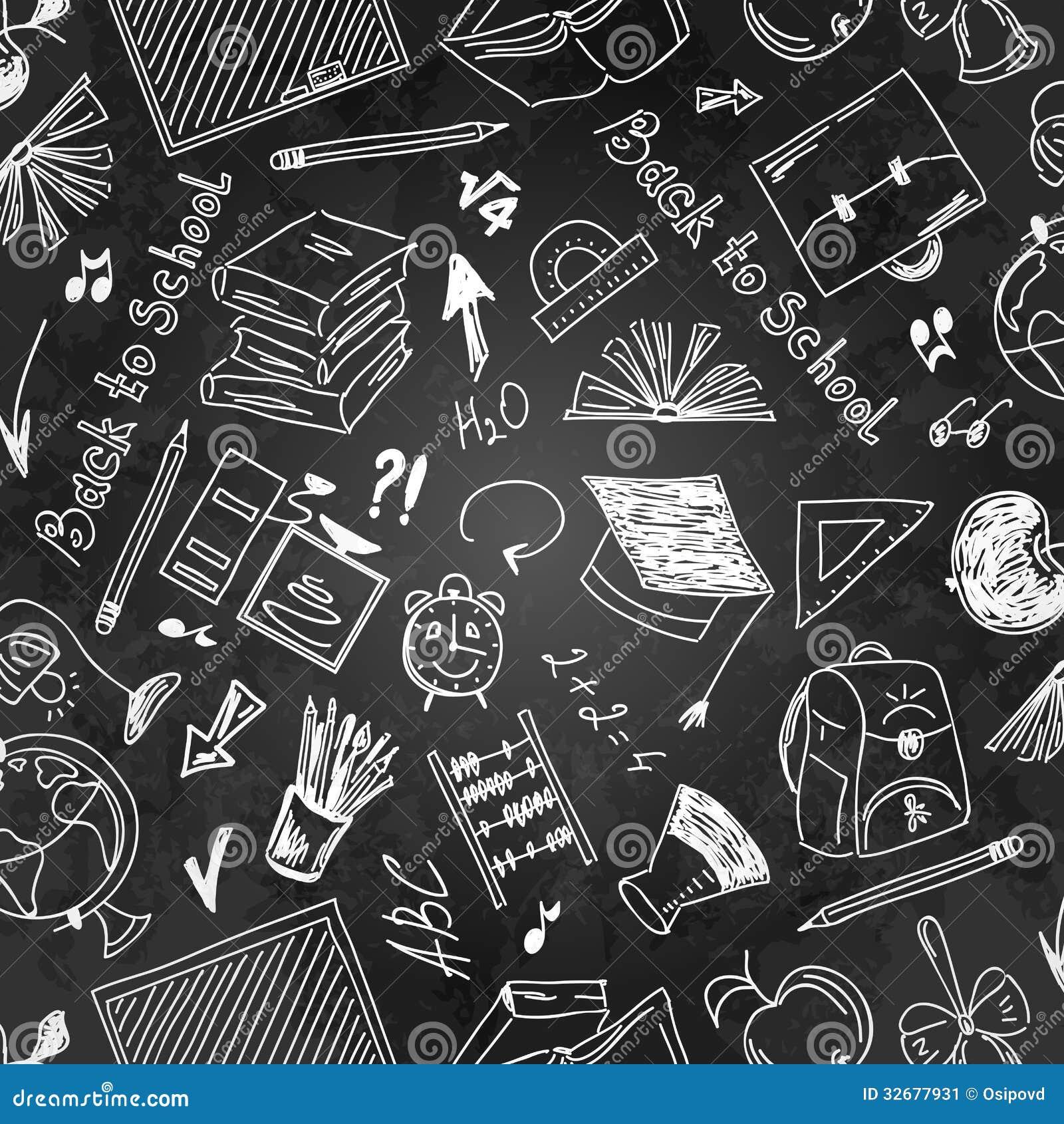 Seamless Pattern School Supplies On A Blackboard Stock ...