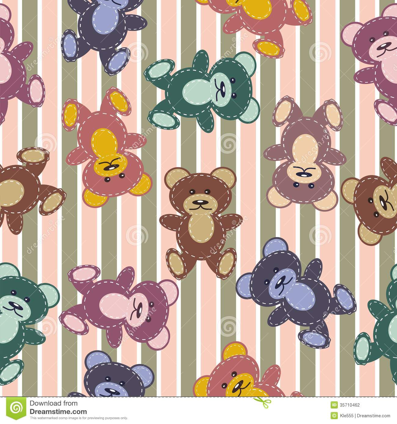 Seamless Pattern With Scrapbook Teddy Bears Stock