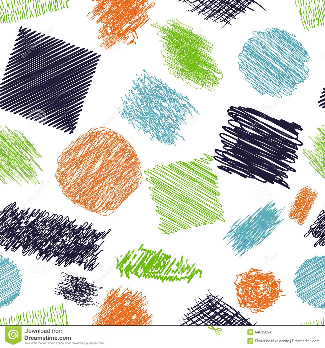 Seamless pattern with scribble brushes. Collection of ink lines, set of hand drawn textures, scribbles of pen, hatching, scratch.