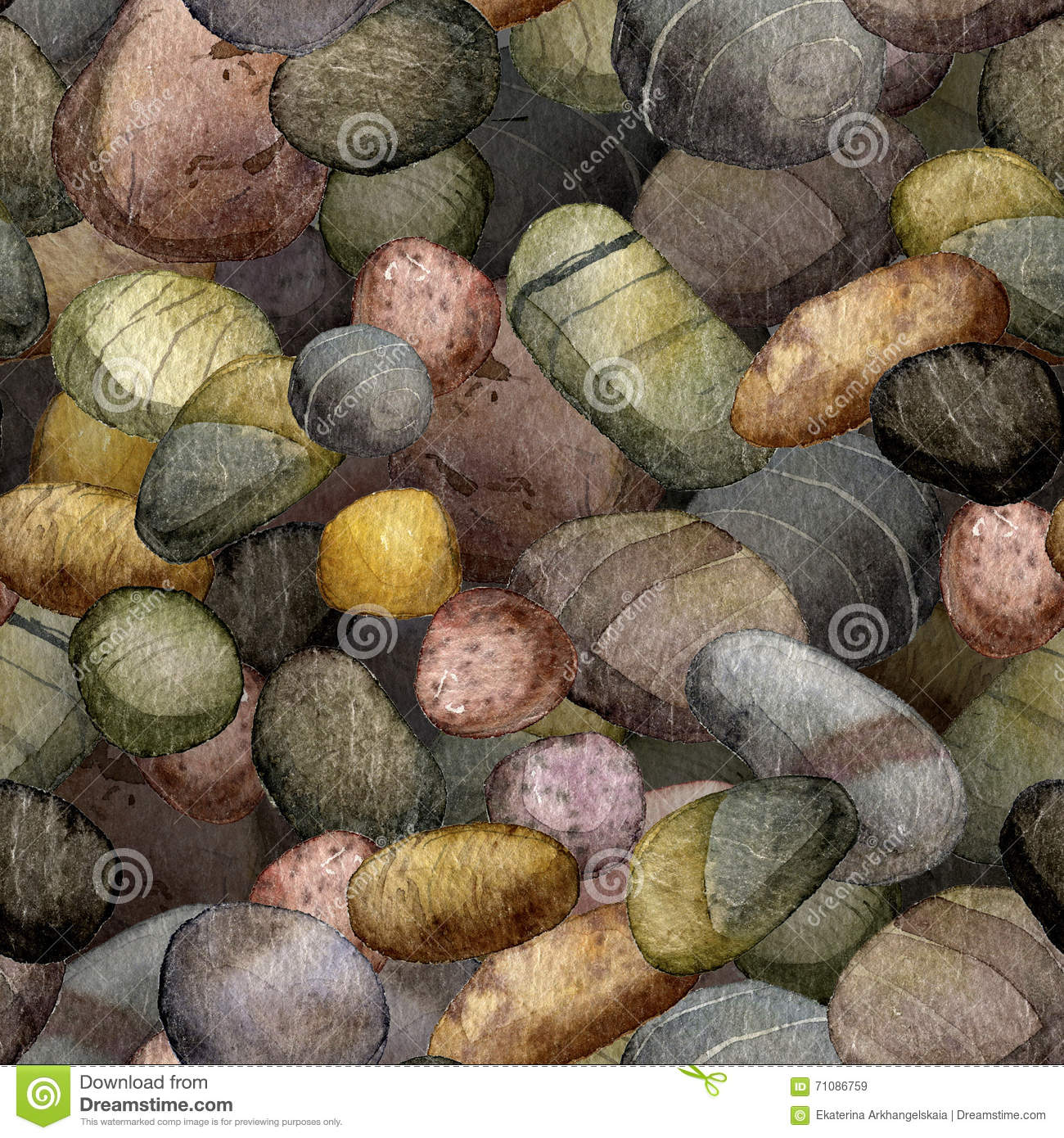 Seamless pattern with sea stones drawing in watercolor