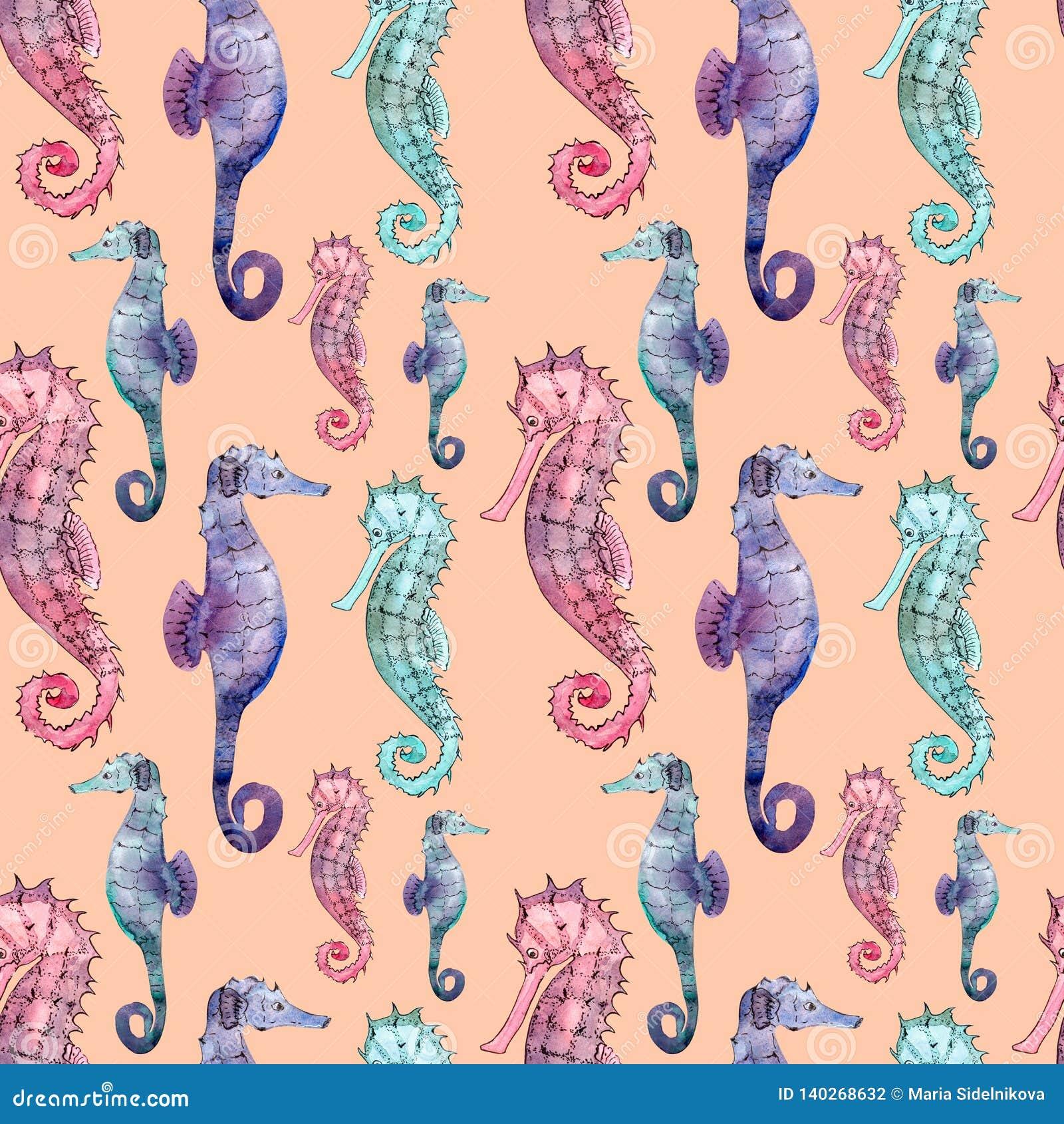 Seamless Pattern With Seahorse Stock Illustration Illustration Of Cartoon Isolated 140268632
